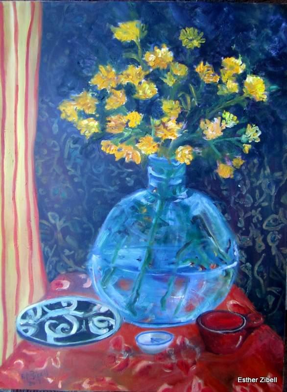 still life with blue vase